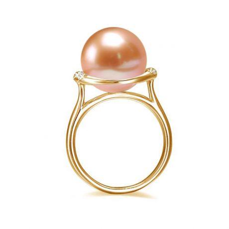 Anello oro giallo, diamanti - Perla acqua dolce rosa - 10/11mm