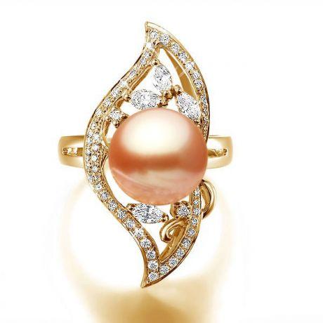 Anello floreale oro giallo - Perla acqua dolce rosa - 10/11mm