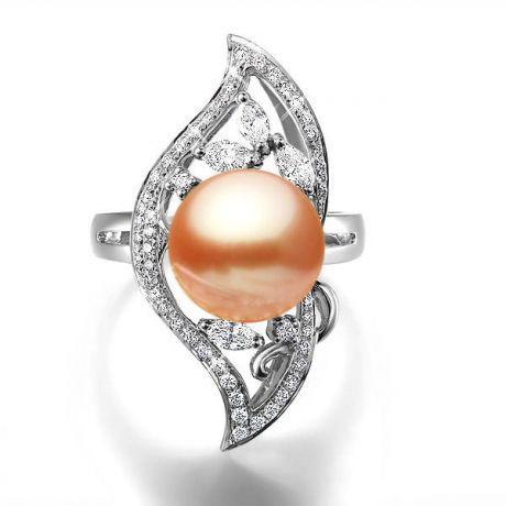 Anello floreale oro bianco - Perla acqua dolce rosa - 10/11mm