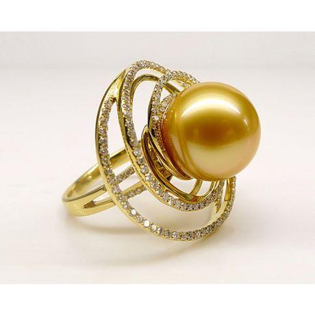 Anello ciondolo in oro giallo, diamanti e perla d'Australia