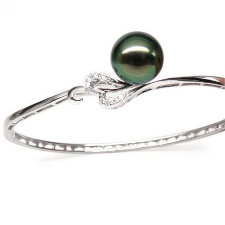 Bracciale rigido oro bianco - Perla di Tahiti nera, pavone, verde - 10/11mm