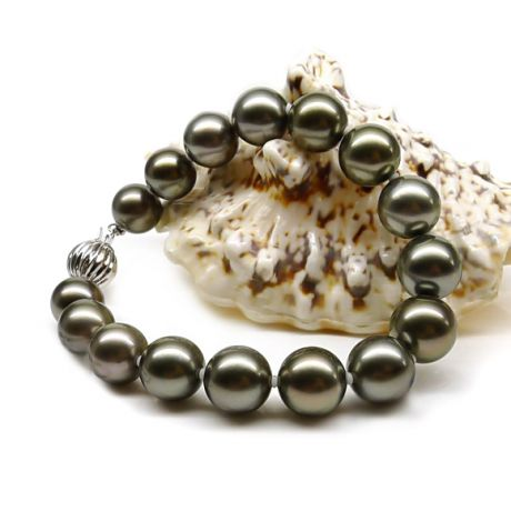 Braccialetto di perle di Tahiti - Oriente pavone e chiusura in oro