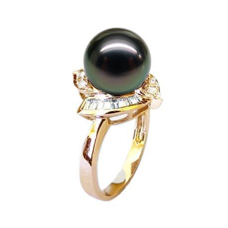 Anello oro giallo - Perla di Tahiti nera, verde, melanzana - 9.5/10mm
