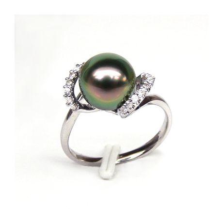 Anello oro bianco - Perla di Tahiti nera, pavone, melanzana - 9/10mm