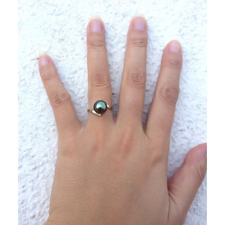 Anello oro giallo - Perla di Tahiti nera, verde, melanzana - 9/10mm