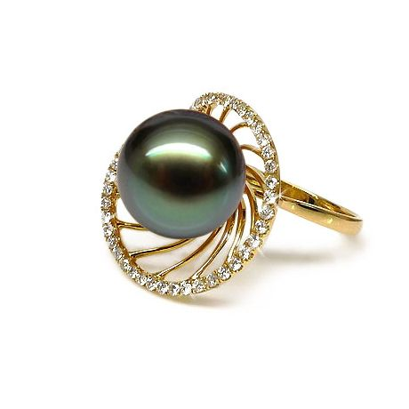 Anello oro giallo - Perla di Tahiti nera, verde - 11/12mm