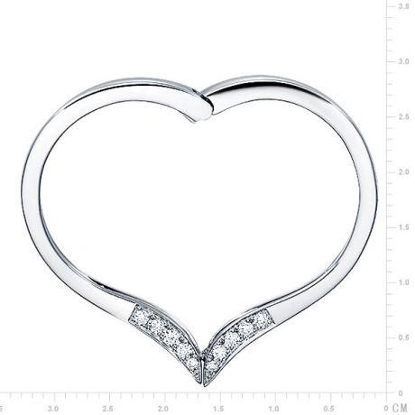 Anello ciondolo cuore - Oro bianco e diamanti 0.32ct