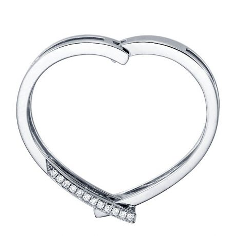 Anello ciondolo cuore - Oro bianco e diamanti 0165ct