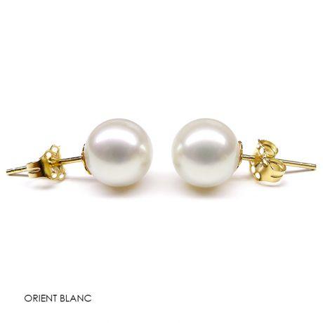 Orecchini perle acqua dolce bianche. Farfallina oro giallo - 8/9mm. AAA