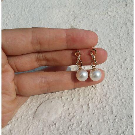 Orecchini Bambù - Pendenti con perle di coltura