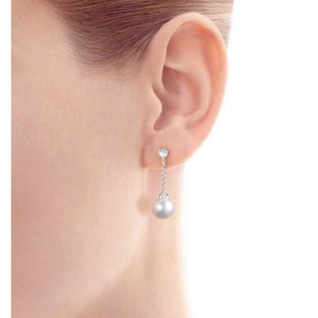Orecchini Pendenti Daisaku. Perle Akoya Giappone e Diamanti