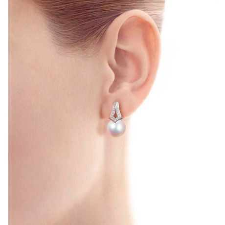 Orecchini perle Giappone. Pendenti Michiko in Oro bianco