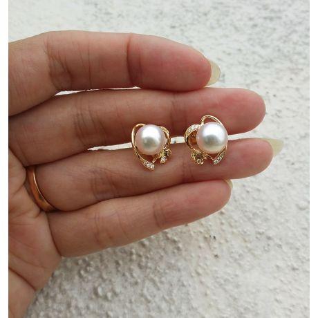 Orecchini Chiusura Farfallina e perle Akoya - Oro giallo e diamanti