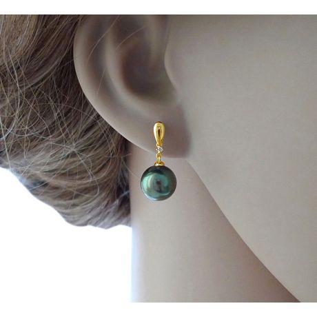 Orecchini - Pendenti oro bianco -  Perle di Tahiti nere, verdi - 10/11mm
