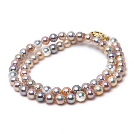 Parure perle d'acqua dolce multicolore - Collana, bracciale due fili - 6.5/7mm