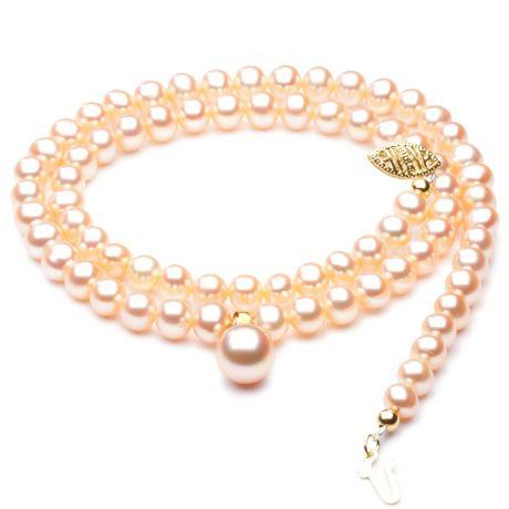 Collana ciondolo perle d'acqua dolce rosa - 5/9mm, AA+/AAA