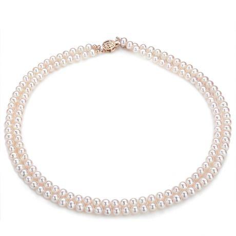Collana due fili perle acqua dolce bianche - 5/5.5mm, AA+