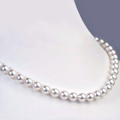 Parure di perle Akoya bianche, collana e braccialetto - 6.5/7mm