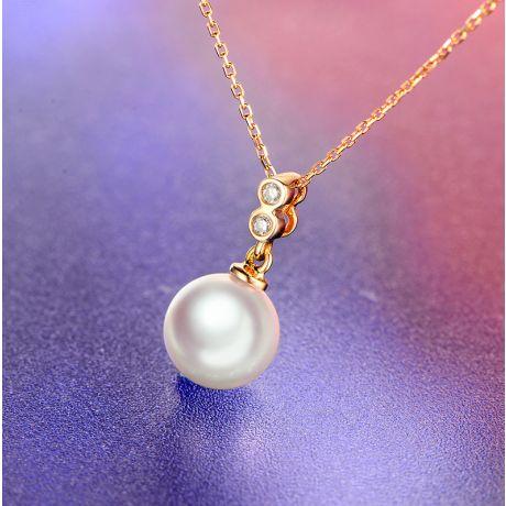 Ciondolo perla Akoya 8/8.5mm. Oro giallo, incastonati 2 diamanti