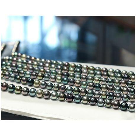 Collier - Perle di Tahiti grigie, bronzate - 9/11mm, AAA