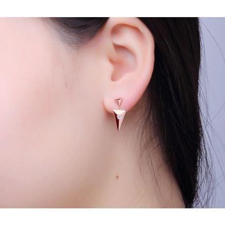 Orecchini pendenti triangolo Oro rosa. Diamanti 0.100ct