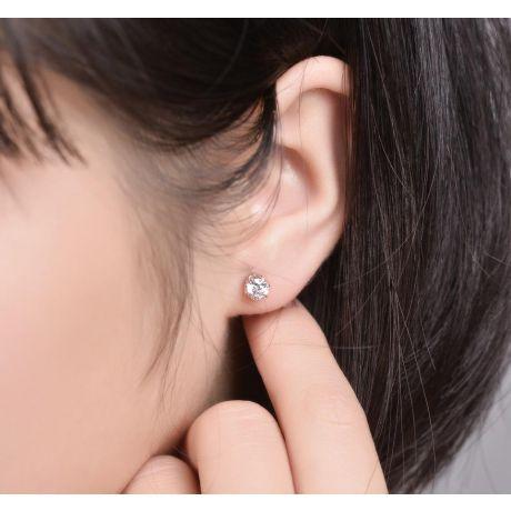 Orecchini Diamanti Punto Luce. Oro bianco 18ct. Vassili