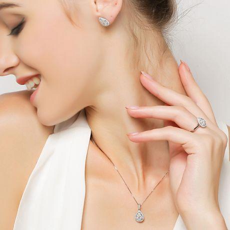 Orecchini Goccia di Diamanti. Oro bianco 18 carati