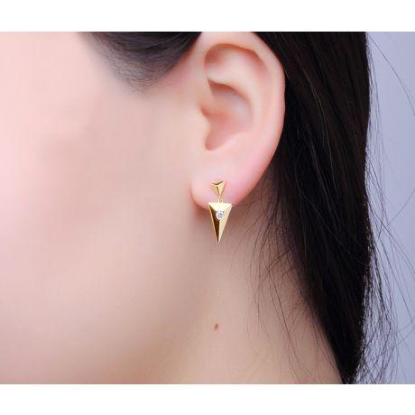 Orecchini pendenti triangolo Oro giallo. Diamanti 0.100ct