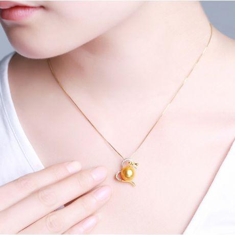 Ciondolo fiocco - Oro giallo, perla d'Australia dorata. Diamanti