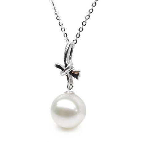 Ciondolo fiocco - Oro bianco 18ct - Perla d'acqua dolce bianca