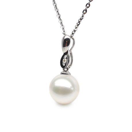 Ciondolo infinito - Perla coltivata cinese - Oro bianco e diamante