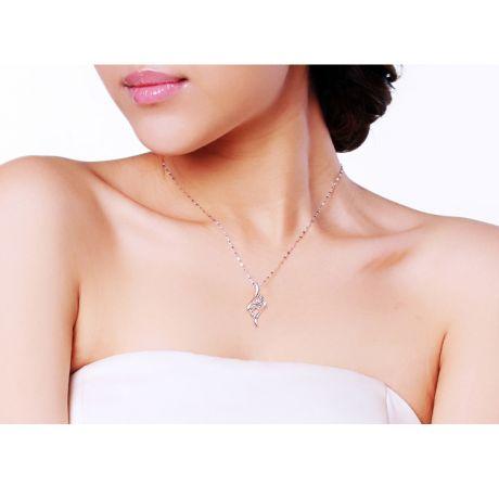 Ciondolo con Diamante Solitario - Fiore d'Oro Bianco