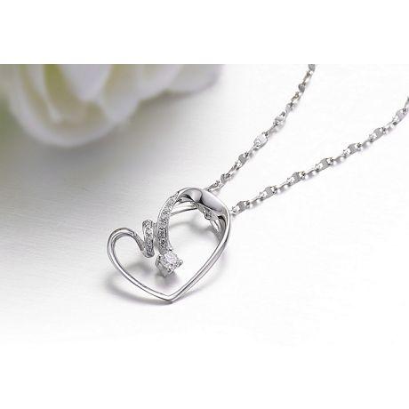 Ciondolo cuore stilizzato oro bianco - Diamanti taglio brillante