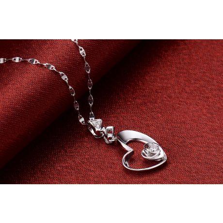 Ciondolo cuore di rosa - Diamanti, oro bianco 18k