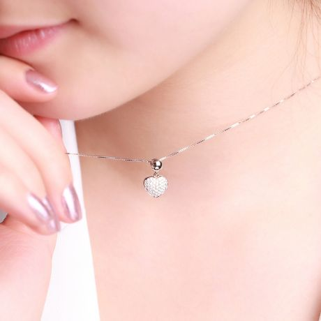 Ciondolo cuore pavé di diamanti - Oro bianco e diamanti 0.230ct