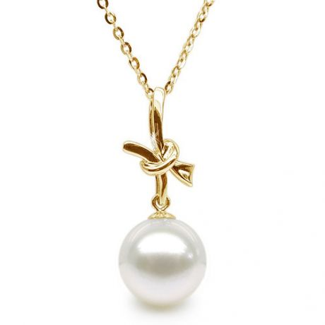 Ciondolo fiocco - Oro giallo 18ct - Perla d'acqua dolce bianca