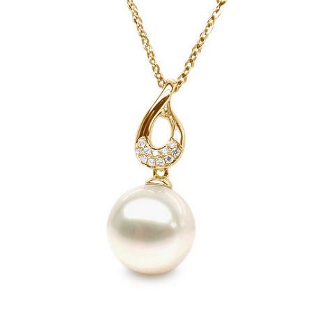 Ciondolo Twist oro giallo - Perla d'acqua dolce, diamanti