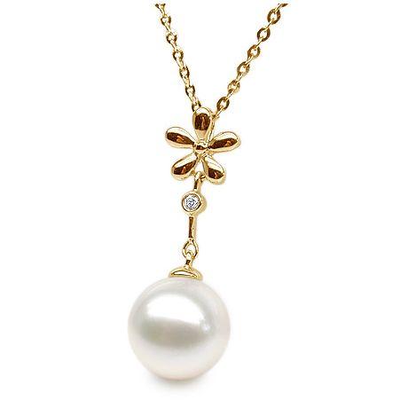 Ciondolo fiore oro giallo - Perla d'acqua dolce bianca sospesa