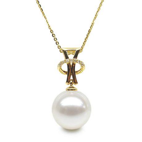 Ciondolo aureola - Oro giallo, diamanti - Perla d'acqua dolce bianca