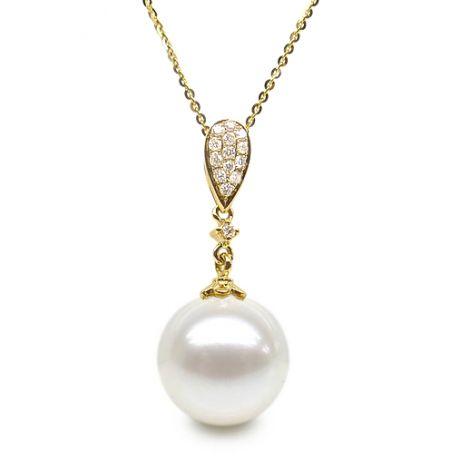 Ciondolo goccia di diamanti - Perla di coltura bianca - Oro giallo