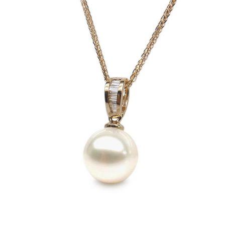 Ciondolo diamanti binari - Perla bianca d'acqua dolce - Oro giallo