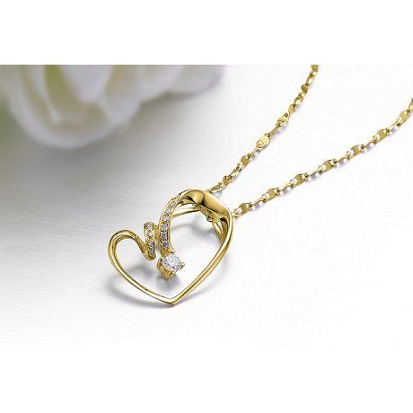Ciondolo cuore stilizzato - Diamanti taglio brillante