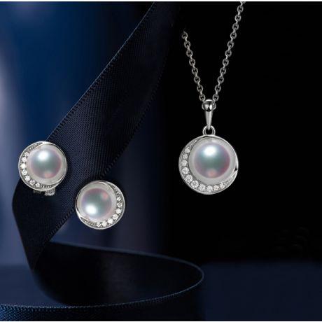 Parure Hinata di Perle Akoya del Giappone. Oro Bianco e Diamanti