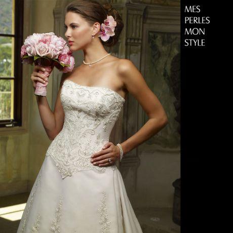 Parure di perle matrimoniale - Collana ed orecchini - Oro bianco