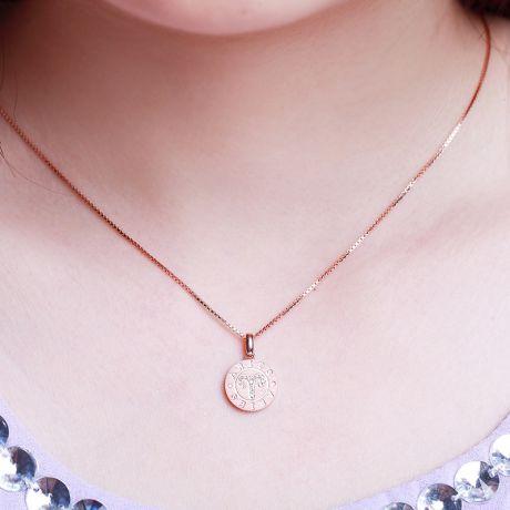 Ciondolo Aries (Ariete) - Oro rosa e diamanti