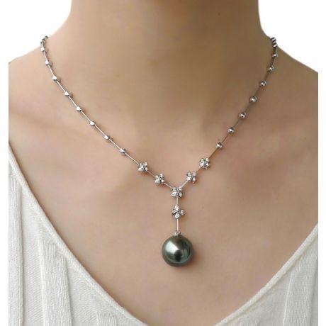 Collana ciondolo in oro bianco e perla di Tahiti 13/14mm