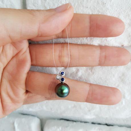Ciondolo oro bianco, zaffiri e diamante - Perla di Tahiti nera, blu - 10/11mm