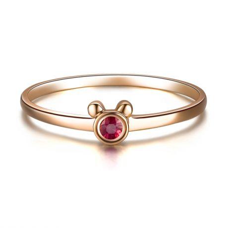 Anello solitario rubino - Oro rosa 18 carati - Orsetto