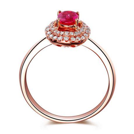 Anello di Fidanzamento oro rosa Rubino e diamanti - Forma Ovale
