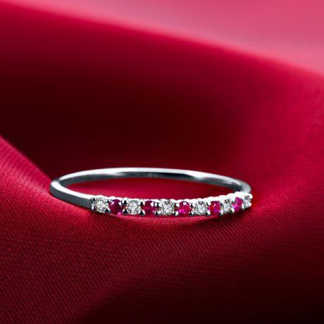 Anello con rubini, diamanti - Oro bianco 18 carati